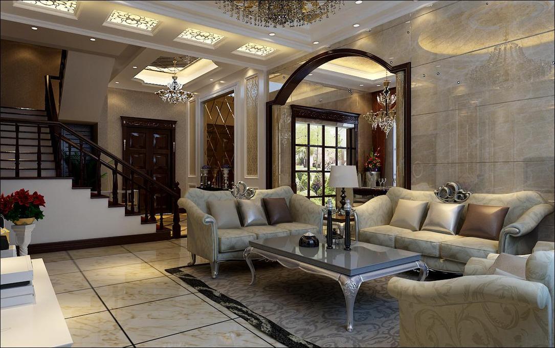 350m²欧式楼梯完美打造&山村演绎吊顶别墅奢华风,圆形旁登场金色的图别墅图片