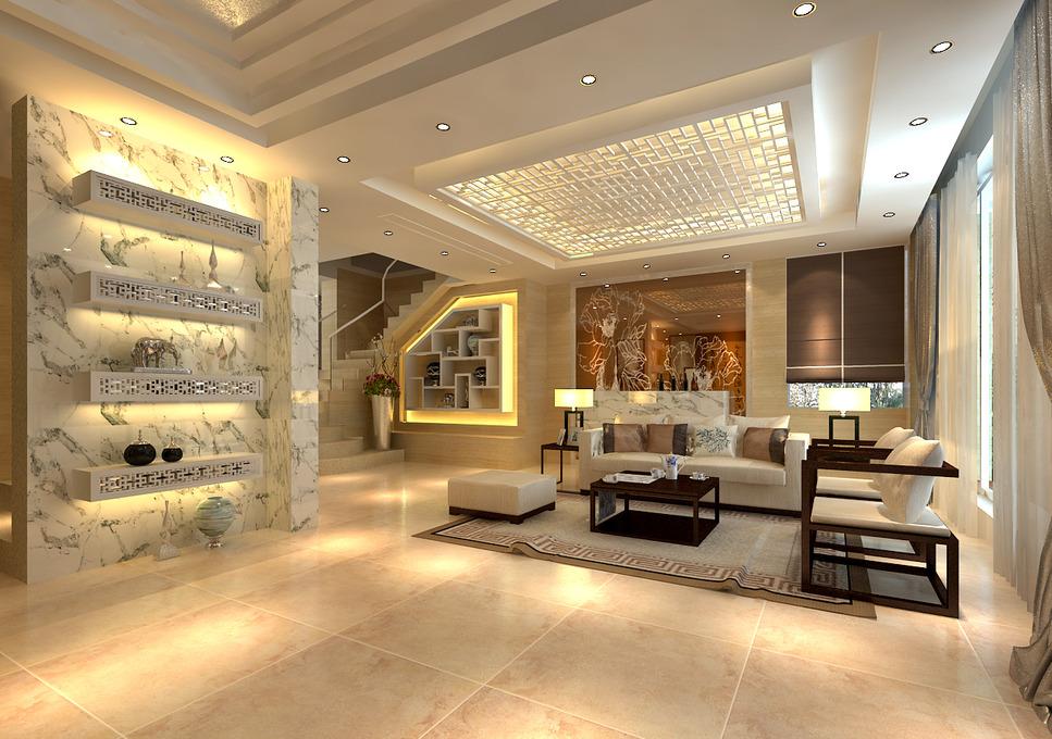 中式现代客厅吊顶沙发茶几装修图图片