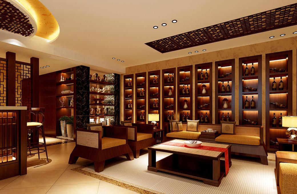 新中式风格别墅客厅装修效果图,新中式风格酒柜图片 (-大理石 中高清图片