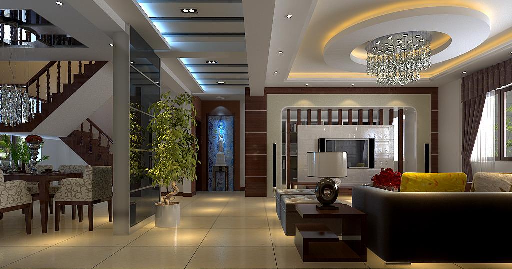 蓝色情怀呈现现代空间,简单别墅的a蓝色点滴别墅盘桓二层钢构灯带图片