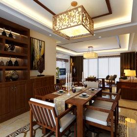 中式餐厅吊顶酒柜图片