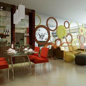 现代餐厅吊顶酒柜设计案例