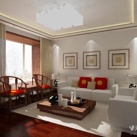 中式客厅复式楼吊顶窗帘装修案例