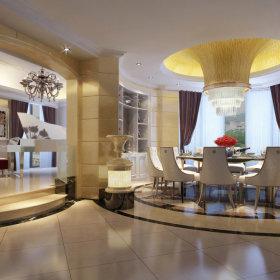 欧式餐厅吊顶窗帘设计案例展示