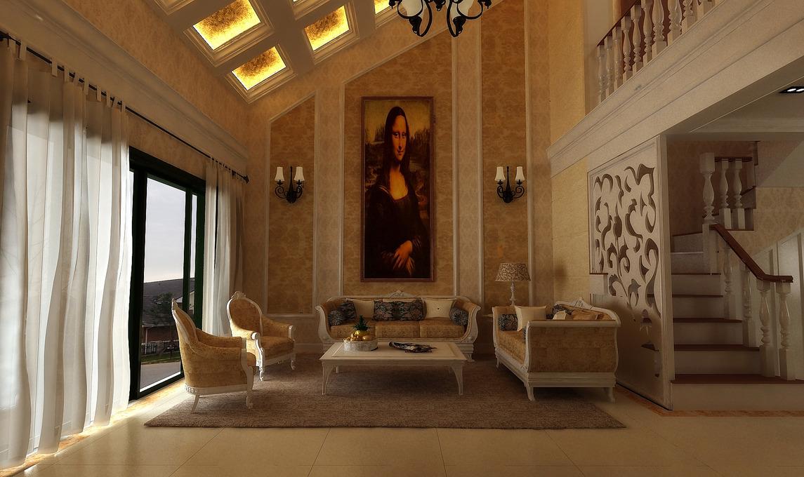 大理石壁炉巧分空间,墙后打造私密会客厅&欧式别墅吊顶斜行,透出图片