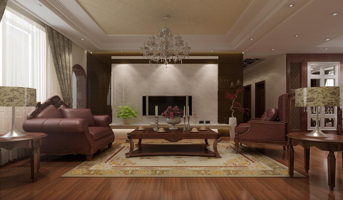 大气白色大理石or沉稳红色木板墙?欧式大宅电视墙风格,由你来定义!图片