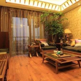 温馨客厅植物实木家具效果图