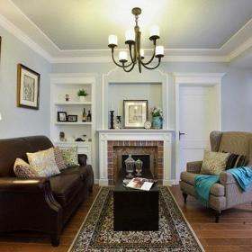 美式清新客厅背景墙沙发单人沙发画框装修图