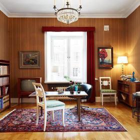 清新自然客厅书房实木地板木地板壁纸装修案例