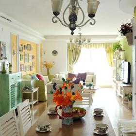 欧式田园清新客厅餐厅餐桌餐桌椅木质餐桌椅欧式吊灯设计图