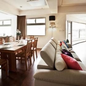 客厅餐厅沙发餐桌餐桌椅休闲沙发椅环保地板装修图