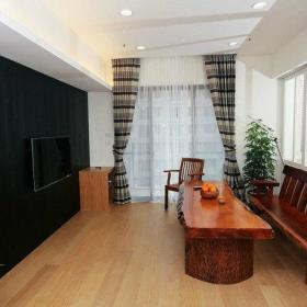 89平简约二居室客厅背景墙装修效果图