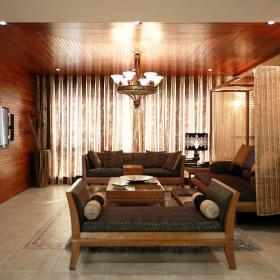 东南亚精致温馨东南亚风格客厅沙发木质沙发案例展示