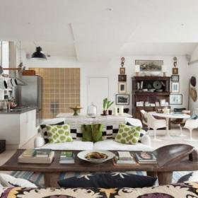 温馨客厅厨房木地板设计图