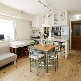 日式清新自然典雅窗帘沙发植物餐桌桌子椅子布艺沙发椅布艺窗帘效果图