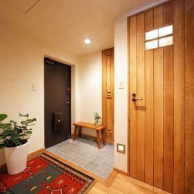 清新波西米亚玄关植物玄关柜图片