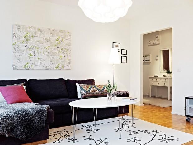 北欧风木质地板设计的小清新客厅