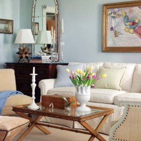 北欧复古简约北欧风格客厅沙发茶几玻璃茶几椅装修效果展示