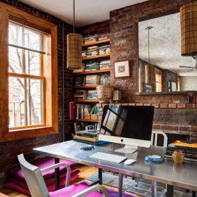 清新自然复古法式乡村风格办公室桌子木质地板装修案例