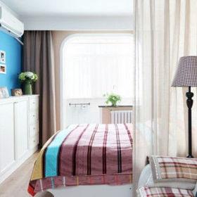背景墙布艺床装修案例
