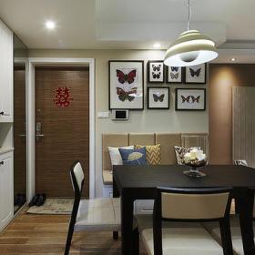 客厅餐厅玄关背景墙玄关柜椅相框墙装修效果展示