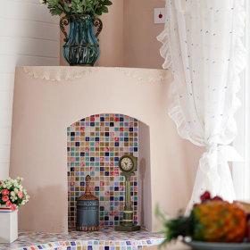 清新浪漫客厅窗帘马赛克装修效果展示