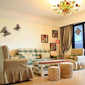 田园美式客厅沙发单人沙发设计案例展示