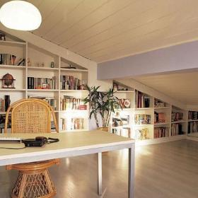 书房阁楼书架装修案例