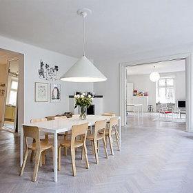 自然温馨餐厅餐桌白色餐桌椅设计案例