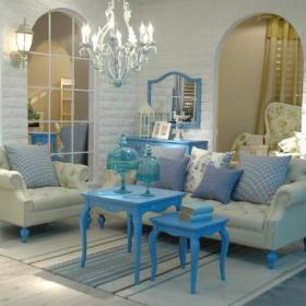 地中海地中海风格客厅沙发布艺沙发图片
