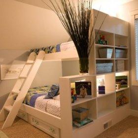 现代简约儿童房双层儿童床装修效果展示