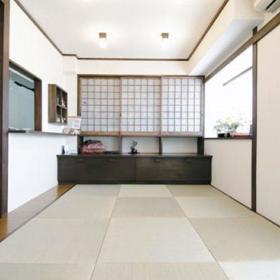 日式卧室榻榻米实木地板木地板壁纸效果图