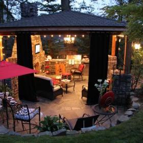 自然客厅花园外景窗帘装修案例