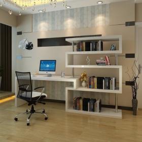 现代简约现代简约电脑桌书架转角书桌烤漆装修图