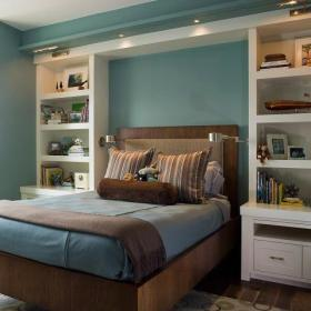 现代简约创意卧室储物柜墙面装修效果展示
