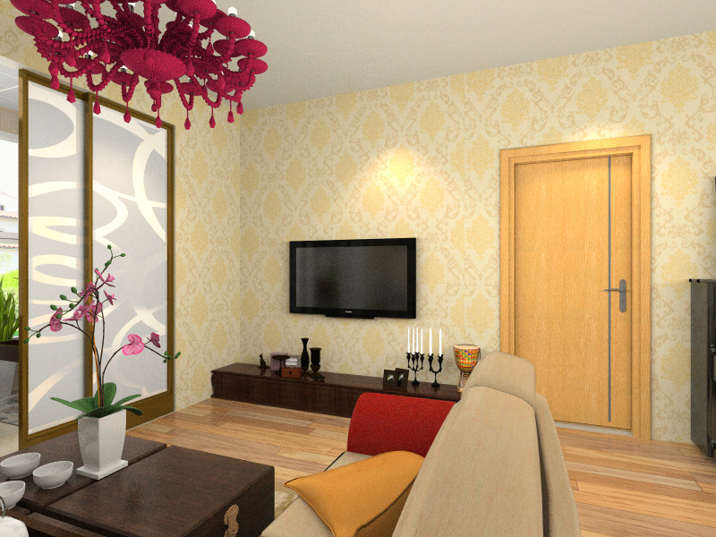 电视机背景墙并没有做过多的设计,原本淡雅黄色墙纸就已经将空间丰富图片