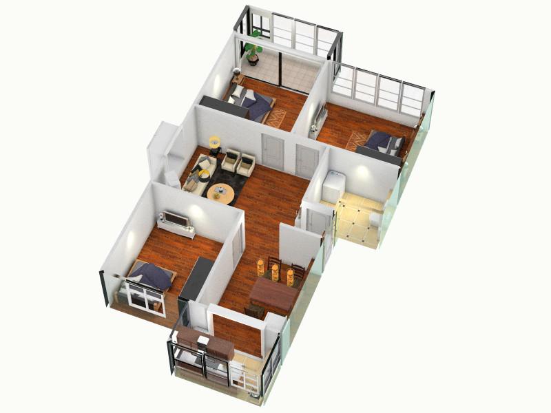 三室1厅一厨一卫平面图设计图展示