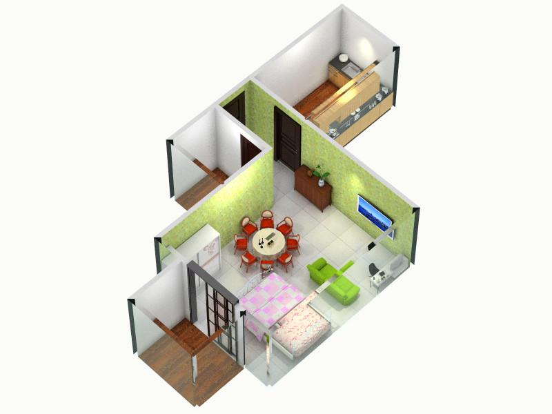 公租房单间配套短阳台客厅,室内,厨房,卫生间等装修图