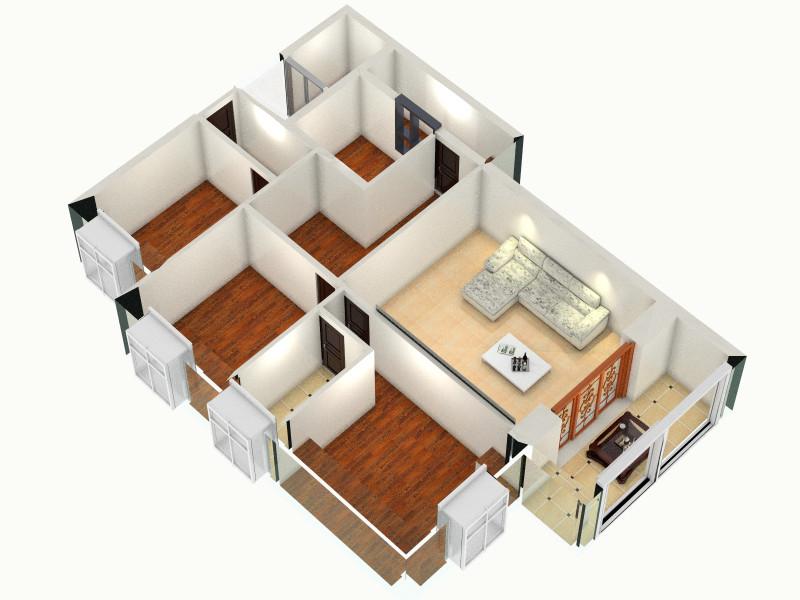 炙热冰霜的家平面1-俯视图