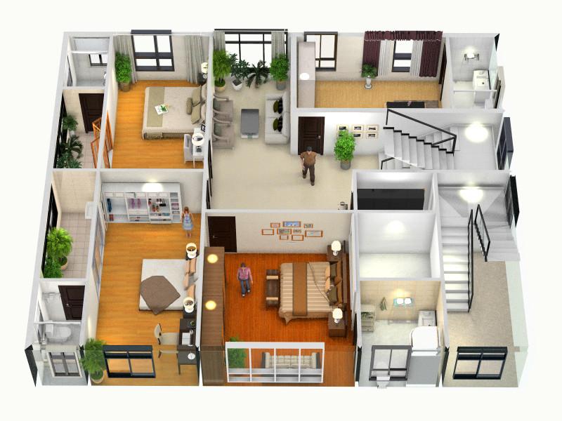 楼村陈总自建房二层平面-俯视图