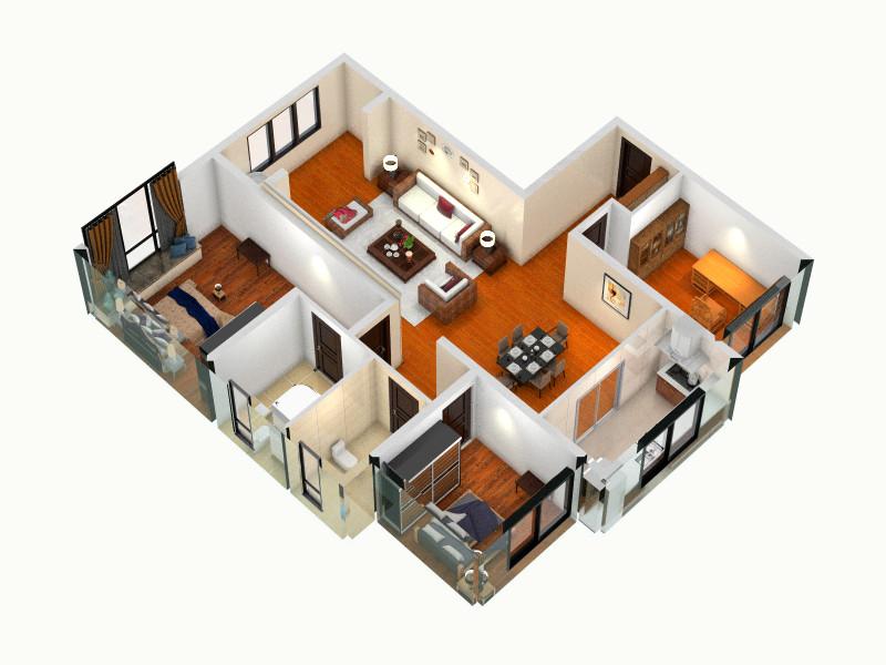 中海国际社区一里城3e装修设计方案客厅,室内,厨房,间图片