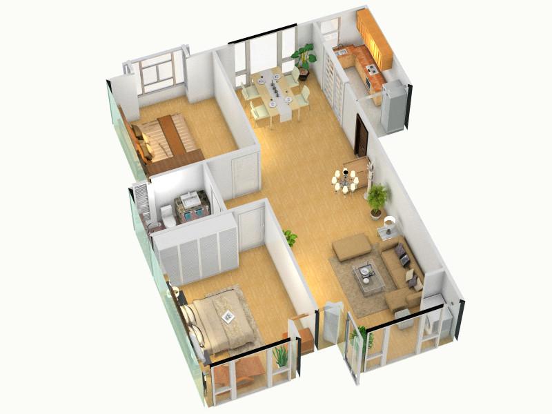 三室一厅装修平面图内容|三室一厅装修平面图版面设计