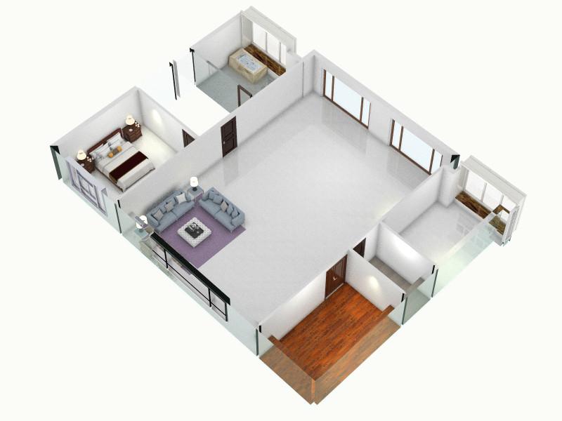 房子装修的家-俯视图