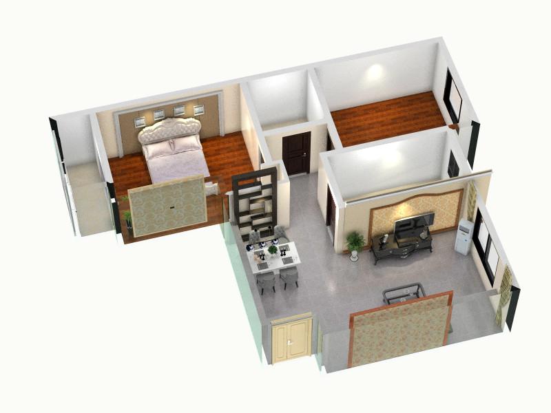 天海誉天下108.00㎡j户型2室2厅1卫-俯视图