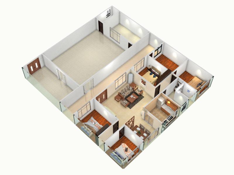 农村自建房一层客厅,室内,厨房,卫生间等装修效果图