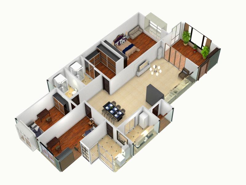 农村80平米三房一厅房屋设计图展示