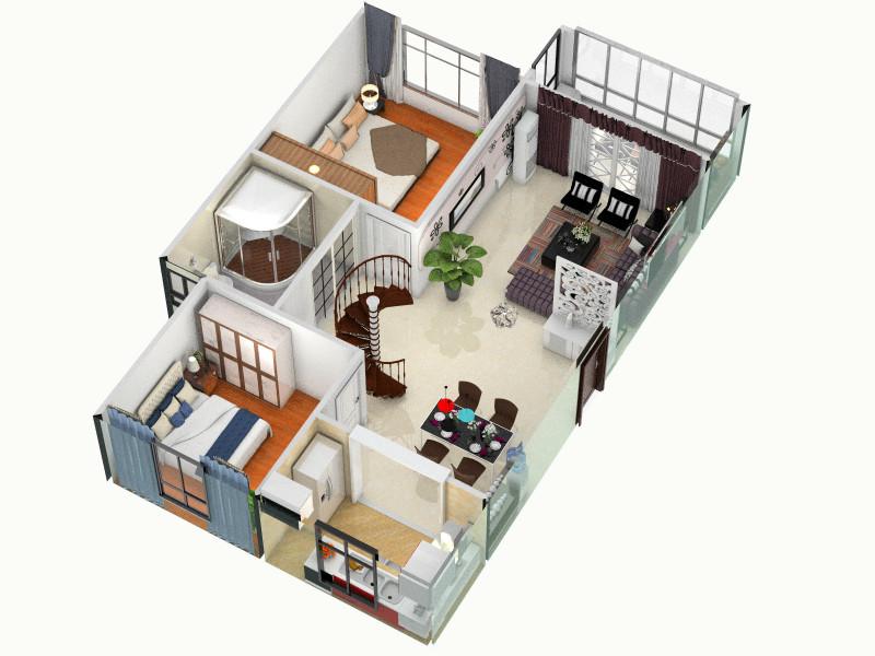 两室两厅一卫客厅 室内 厨房 卫生间等装修效果图大全