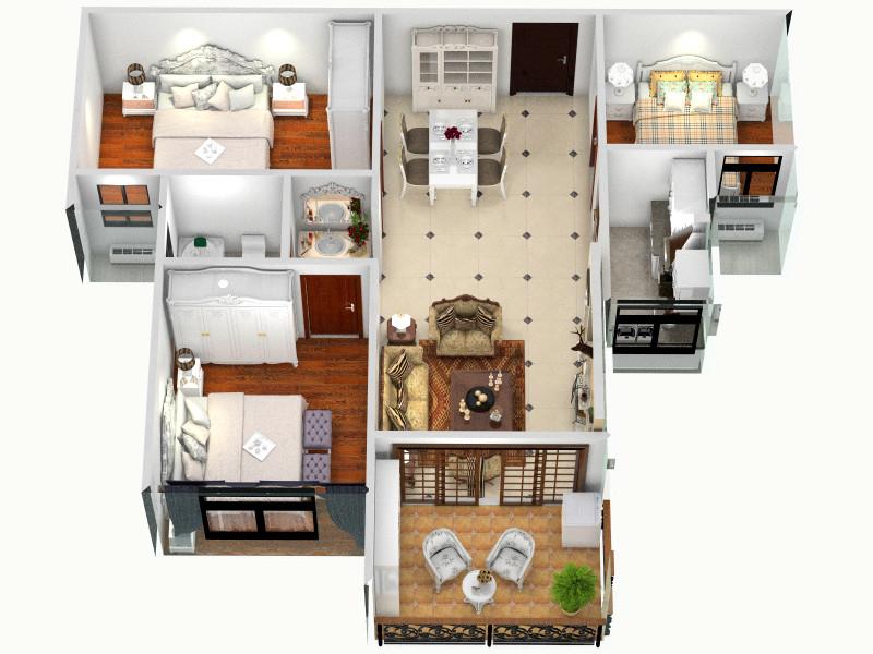 B3三室两厅客厅 室内 厨房 卫生间等装修效果图大全高清图片