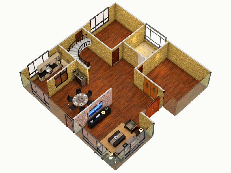 農村自建房1 - 副本客廳,室內,廚房,衛生間等裝修效果