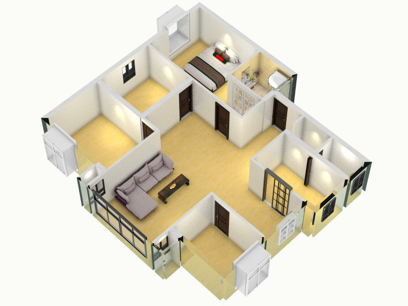 自建房01 - 副本客廳,室內,廚房,衛生間等裝修效果圖